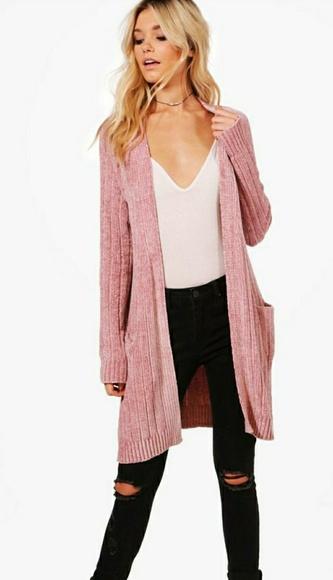 Boohoo Sweaters Blush Chenille Cardigan Poshmark
